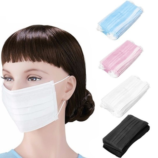 100/50/20/10Pcs Disposable Medical Face Mask - Thick 3Ply Medical Masks with Comfortable Earloop, Great for Dust, Germ and Virus Protection and Personal Health 10/20/50Pcs(White/Blue)