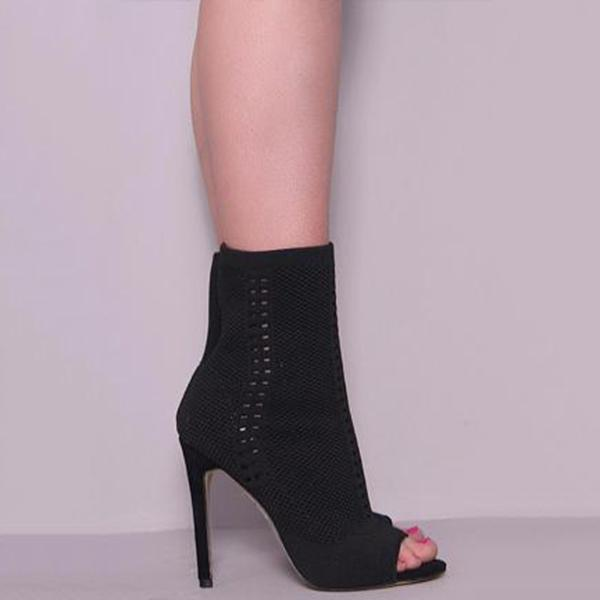 Bonnieshoes Sock Open Toe Ankle Boots