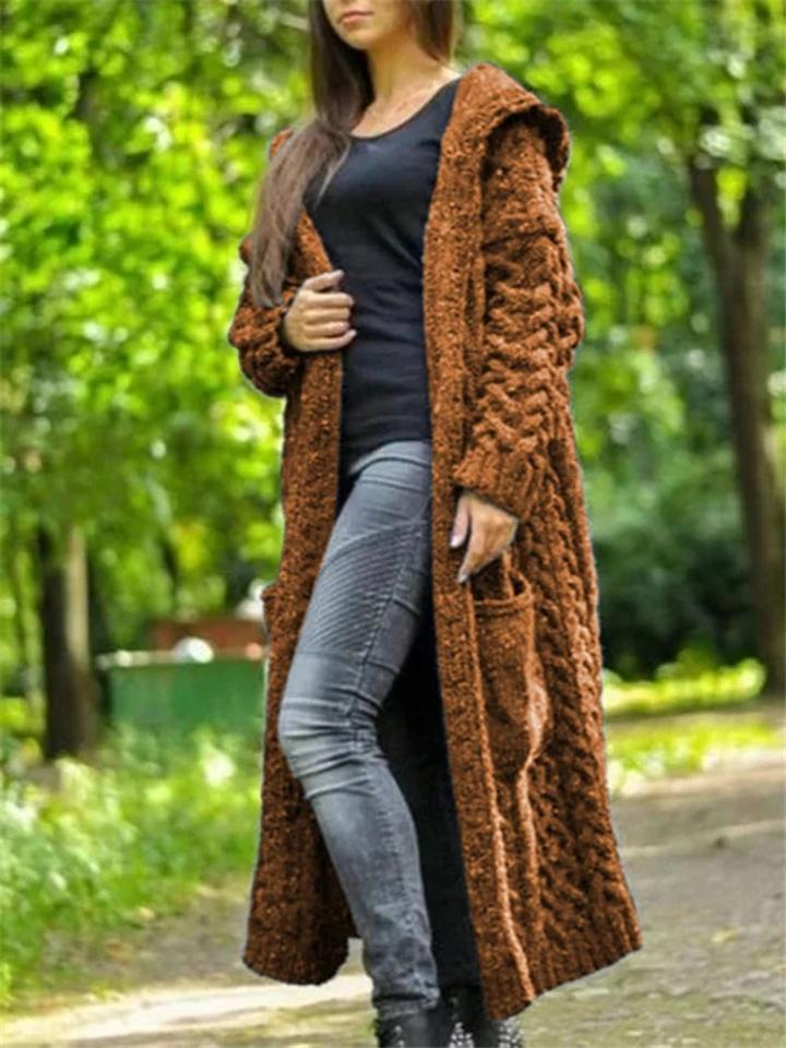 DEDUCTITM Casual Knitted Long Outerwear with Hood -  Free Shipping