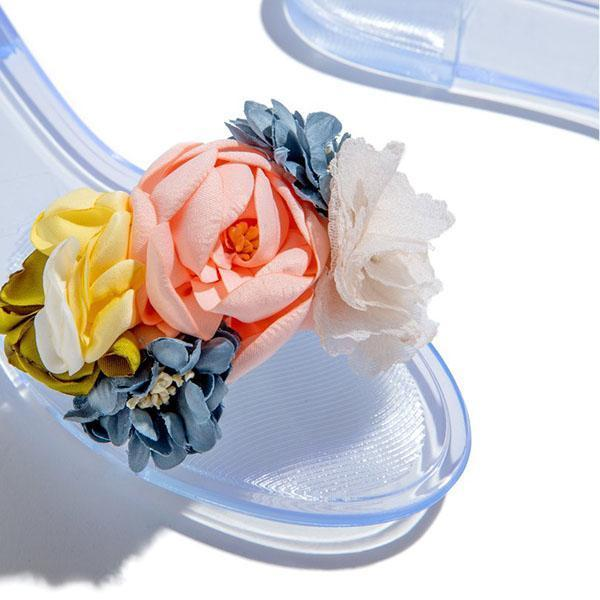 Upawear Multi-Color Floral Clear Jelly Sandals