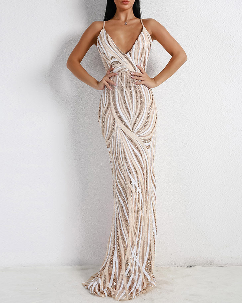 Off-The-Shoulder Sling Sequins Mopping The Floor Evening Dress