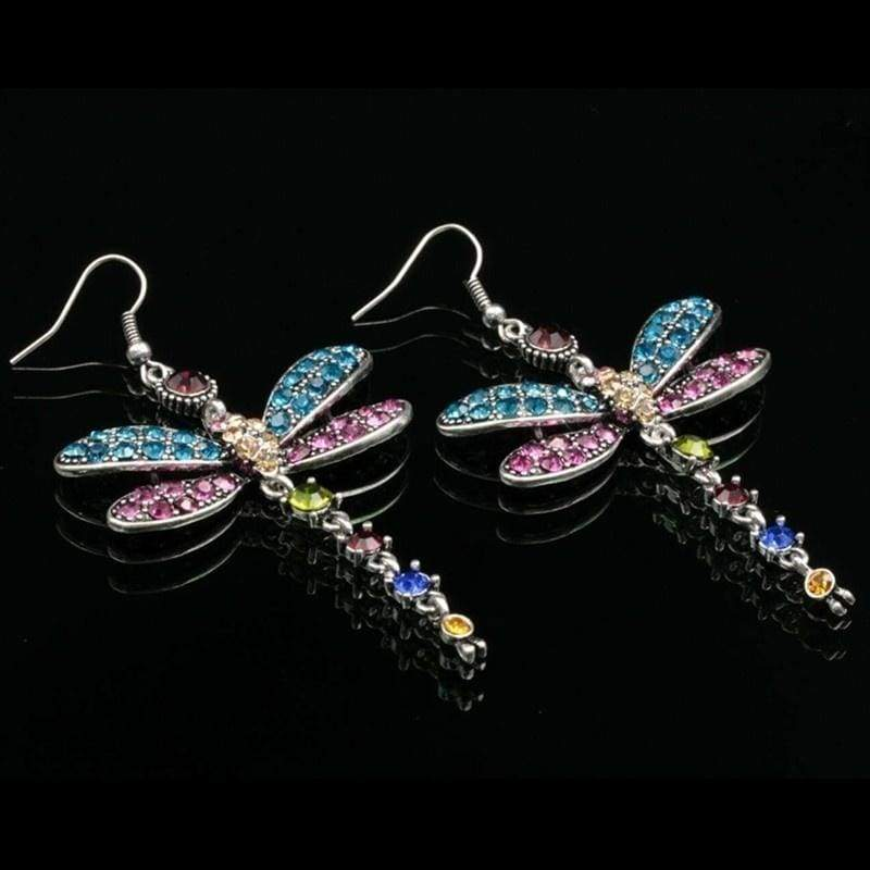 Gorgeous Colors Dragonfly 925 Silver Hook Earrings for Women Anniversary Gift Bride Engagement Wedding Fine Jewelry