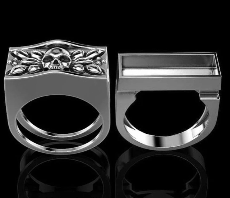 Mens Fashion Accessory 925 Sterling Silver Skull Ring Secret Compartment Cinerary Casket Souvenir Anniversary Gift Hip Hop Unisex Jewelry Men Viking Punk Skeleton Rings Size 6-13