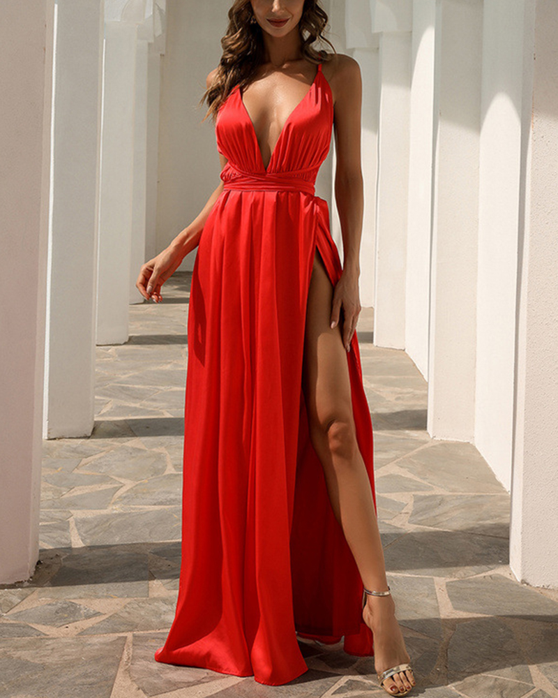 Sexy Temperament V-Neck Suspender Evening Dress