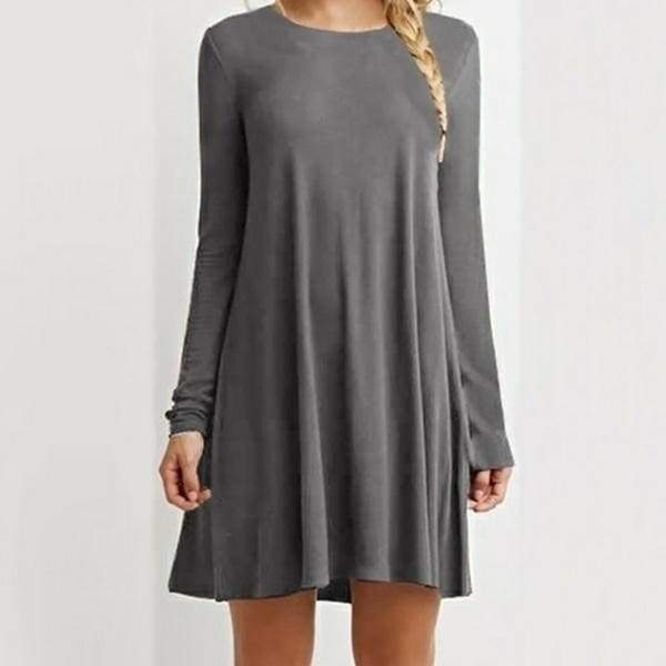 Women's Loose Casual O-neck Long Sleeve Solid Mini Dress 8 Colors Plus Size