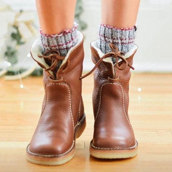 Bonnieshoes Women Winter Vintage Boots Warm Unisex Lace-up Shoes