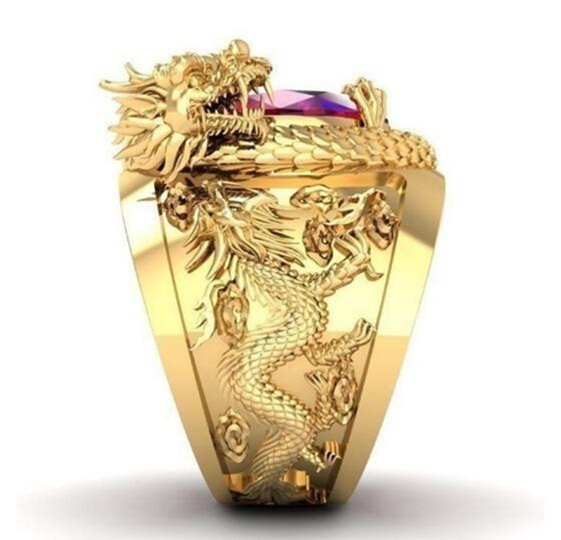 Personality Domineering Gold Dragon Red Gems Rings Women Men Luxury Hip Hop Punk Crystal Animal Rings Anniversary Birthday Gift