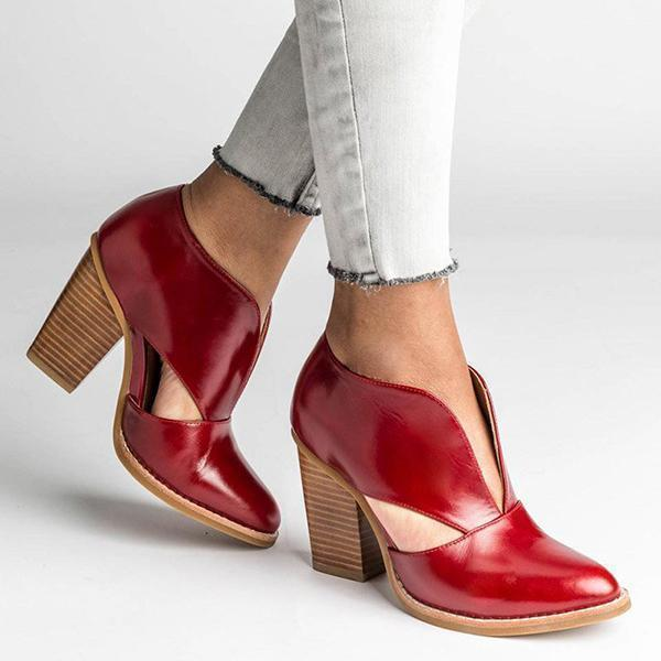 Zoeyootd Round Toe Women Chunky Heel Casual Pu Ankle Boots