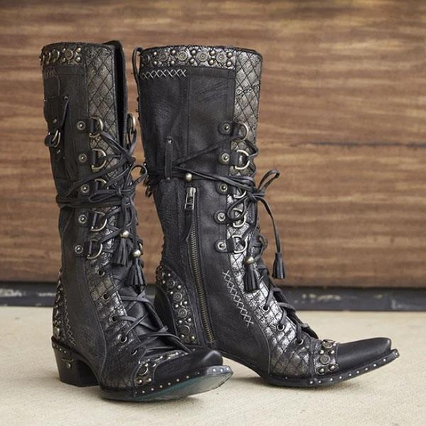Mokoshoes Leather Lace-Up Stud Accents Zipper Boots