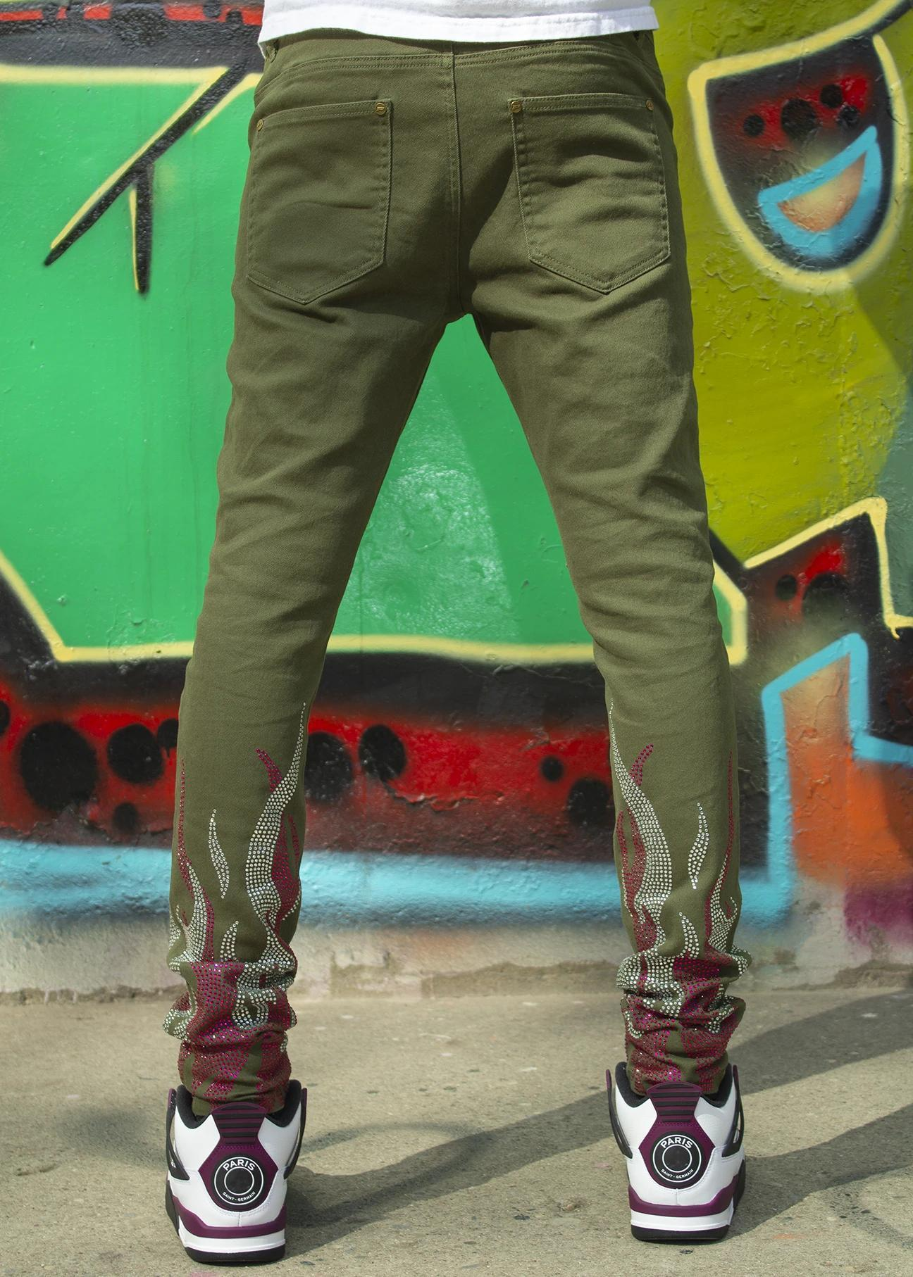 Political jeans stone and flame olive