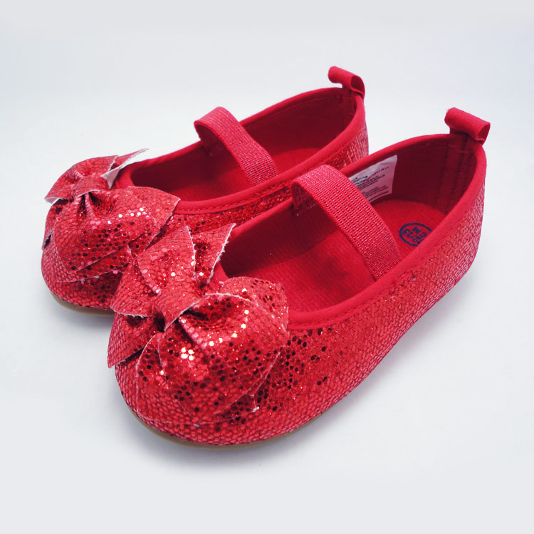 Red glitter kids shoes fashion girls preschool shoes with big bow