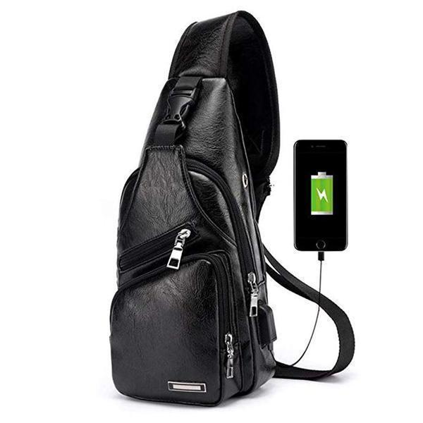 (SAVE $24) PU Leather Sling Bag with USB Port - Buy 2 Free Shipping