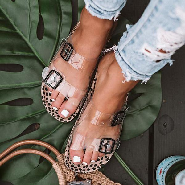 Mokoshoes Clear Straps Silver Buckles Cheetah Slippers
