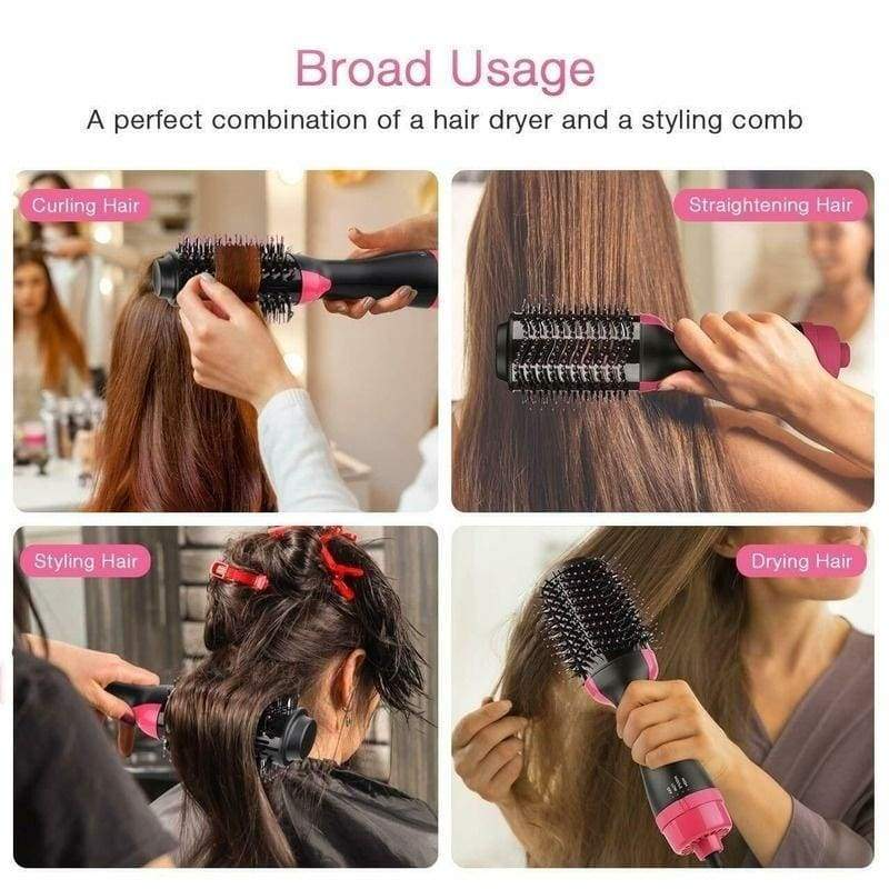 New Hair Dryer Brush and Hot Air Brush, Air Hair Brush 4 In 1 Electric One Step Hair Dryer Volumizer with Negative Ion Curling Dryer Brush, Straightening Brush, Dryer Styler