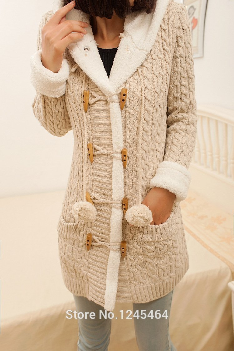2020 New cashmere thick warm hooded coat