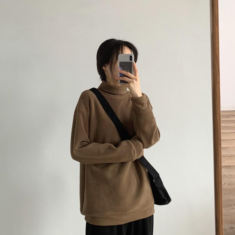 Warm double-faced velvet half-high collar light version sweater autumn and winter wear simple grain velvet casual sweater sweater