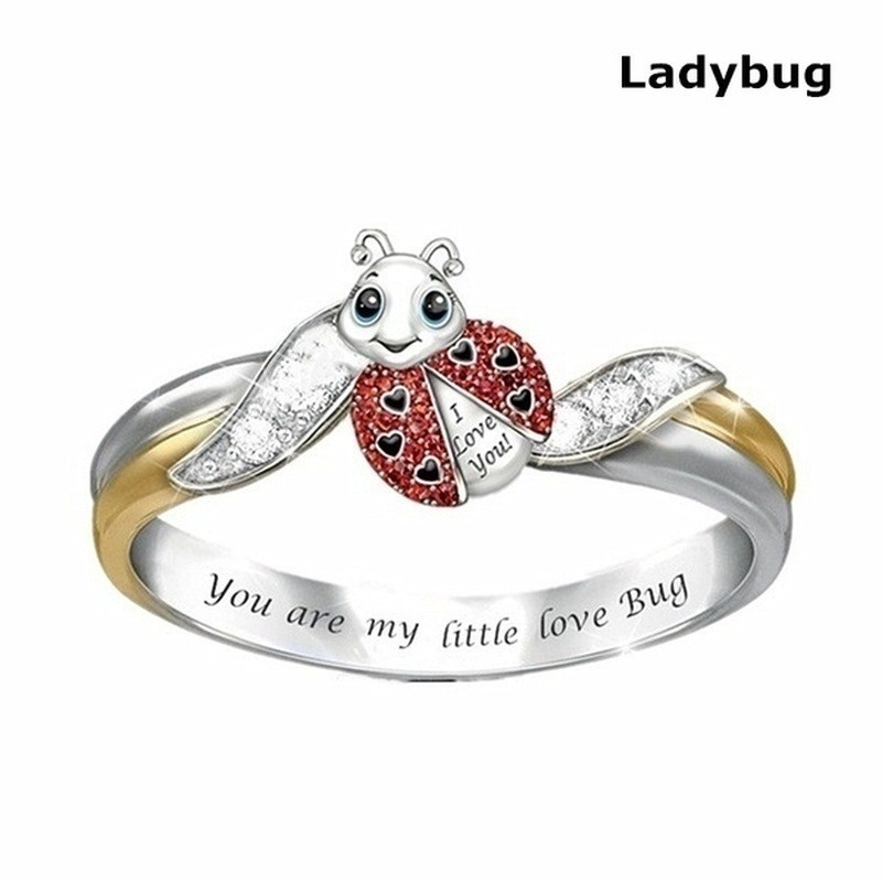 6 Style Exquisite and Fashion 925 Sterling Silver Jewelry Two Tone 18k Gold Diamond Ring Unicorn Ring Elephant Ring Bee Ring Owl Ring Ladybug Ring Sea Turtle Ring Cocktail Party Accessory Christmas Annviersary Gift Proposal Engagement Wedding Band Rings