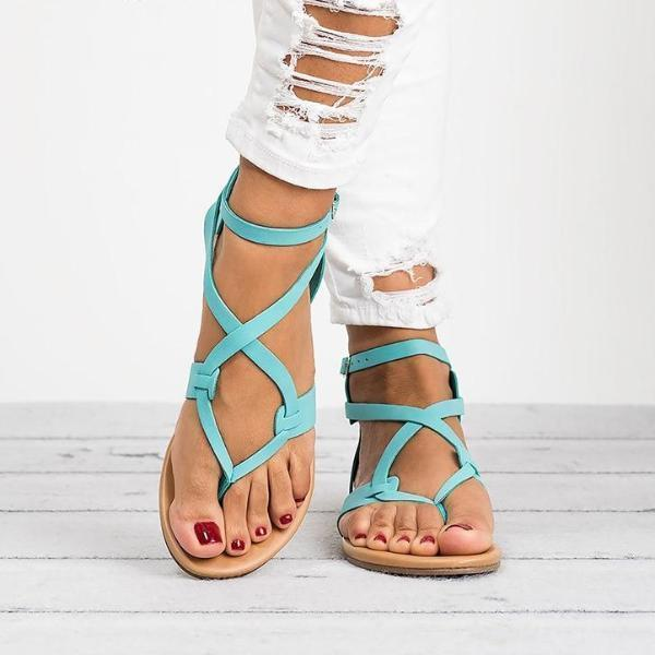 Ankle strappy sandals fFlat sandals for women beach flip flops