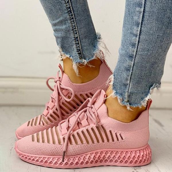 Bonnieshoes Net Surface Breathable Lace-Up Hollow Out Sneakers