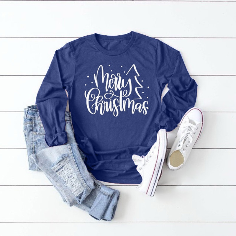 Women Fashion O-neck Merry Christmas Printed Long Sleeve T Shirt Casual Autumn Tops Plus Size Blouse