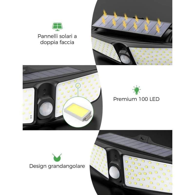 Solar Lights Outdoor, [Updated]100 LEDs 2000LM Super Bright Motion Sensor Light with 220¡ã Wide Angle Illumination, Wireless IP65 Waterproof Security Night Light Spotlight for Garage, Yard, Fence, Deck, Step, Path