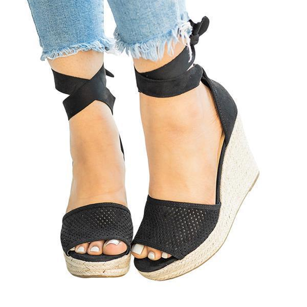 Upawear Espadrille Lace Up Wedge Braided Sandals