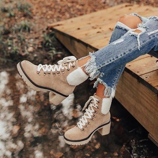 Faddishshoes Platform Lightweight Ankle Lace-Up Boots