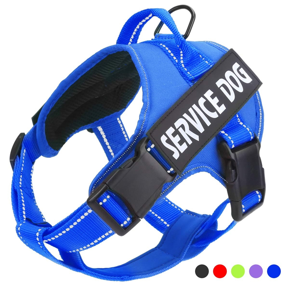 Service Dog Harness, No-Pull 3M Reflective Breathable and Easy Adjust Pet Vest with Handle Perfect for Outdoor Walking