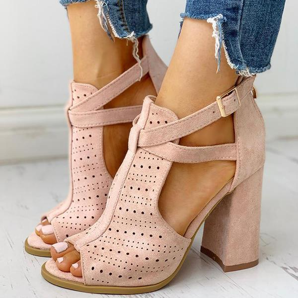 Upawear Peep Toe Hollow Out Chunky Heels Sandals