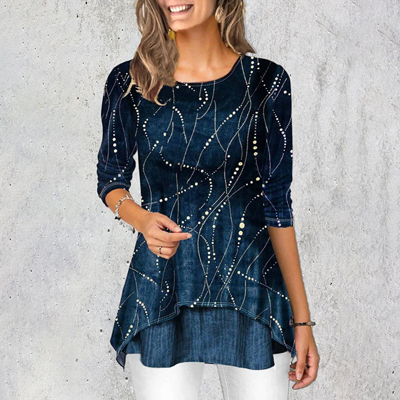 Simple and comfortable line long sleeve shirt