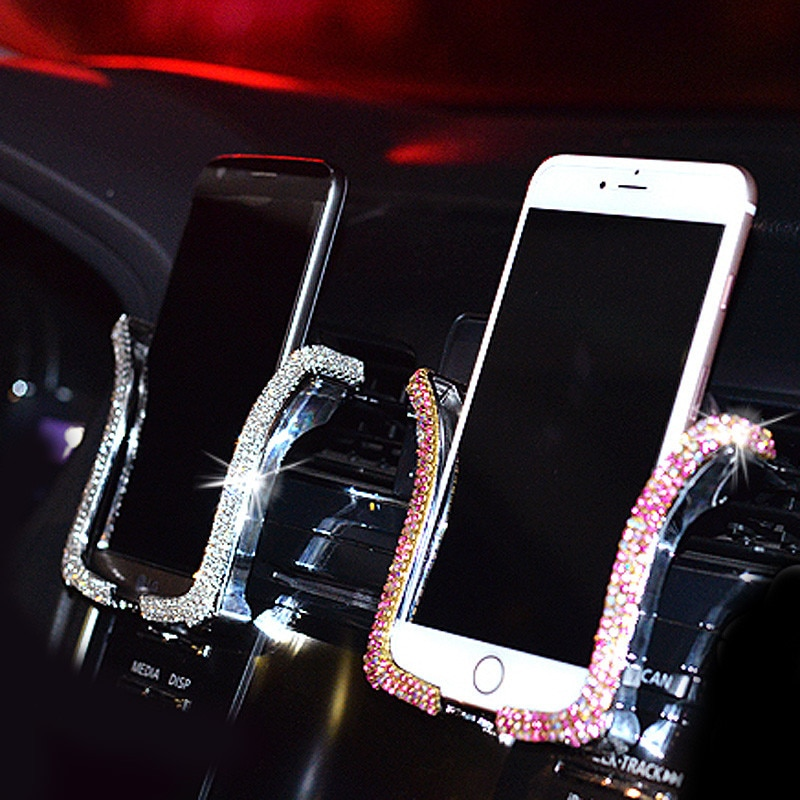 2021 New Car Phone Holder Rhinestones Gravity Stand