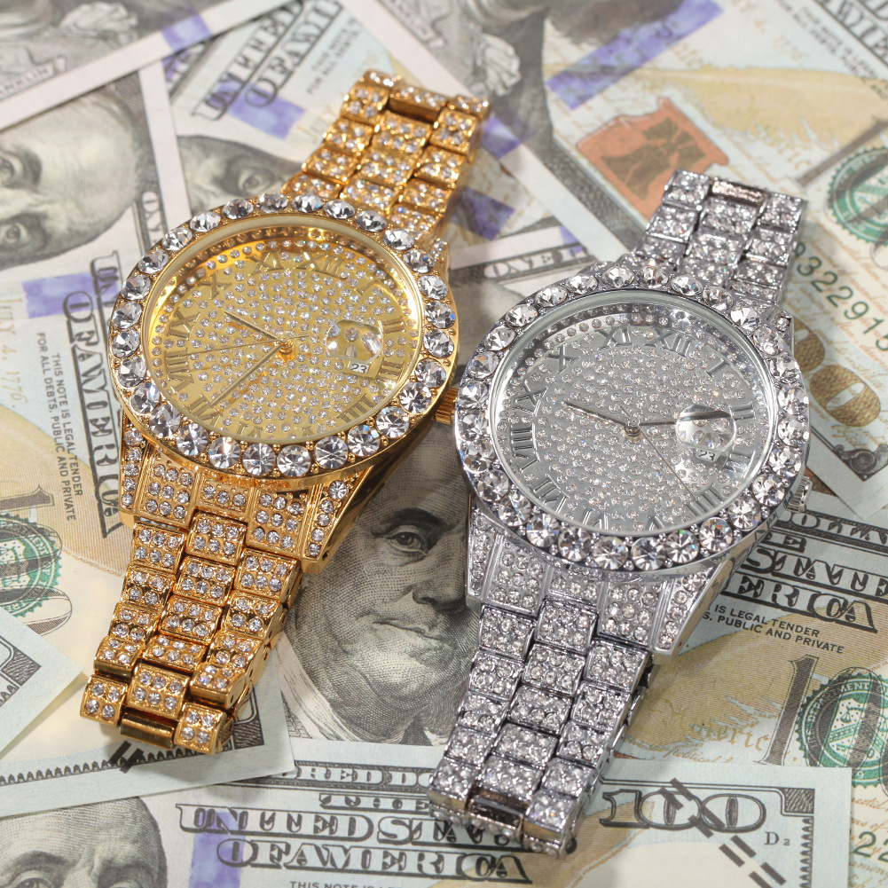 Roman numeral dial gold-plated diamond watch