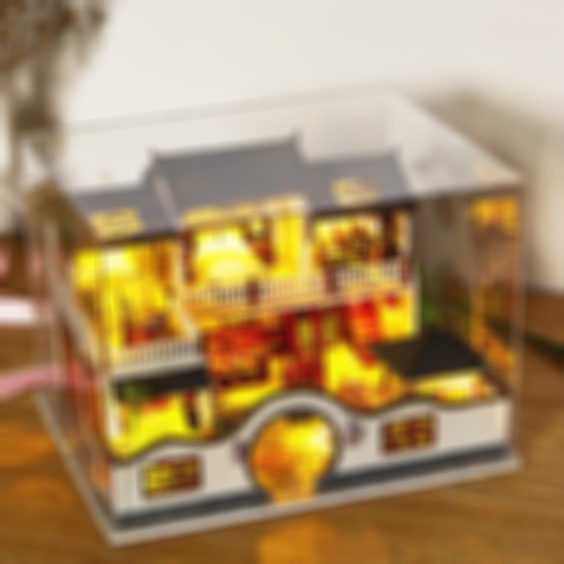 1:24 Scale Chinese style Dollhouse Miniature with Furniture, DIY Wooden Doll House Kit with Dustproof Cover
