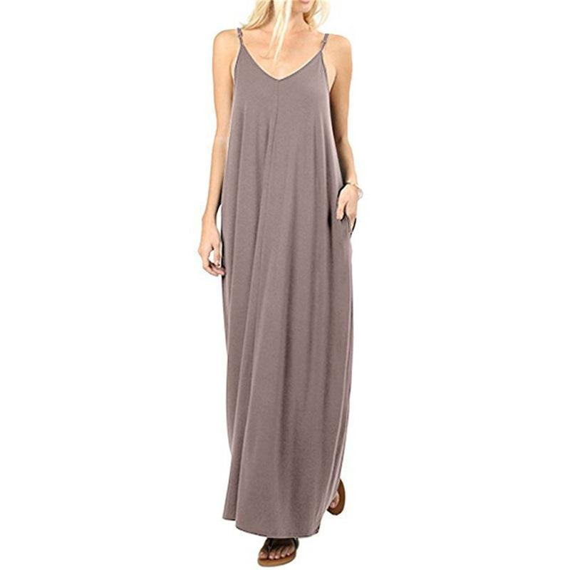 Casual style one-piece long slip dress
