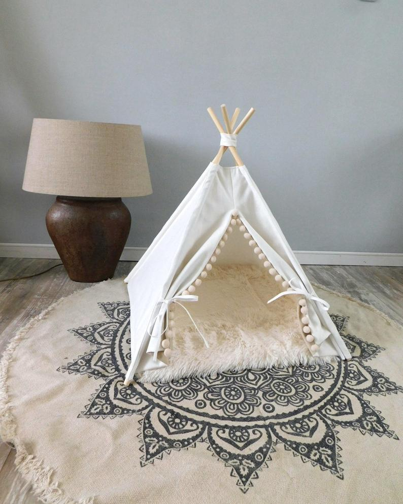 Pet teepee including fake fur or linen pillow, tent, tipi, teepee, dog tipi, cat teepee, cat tipi, tepee wigwam, urban living.