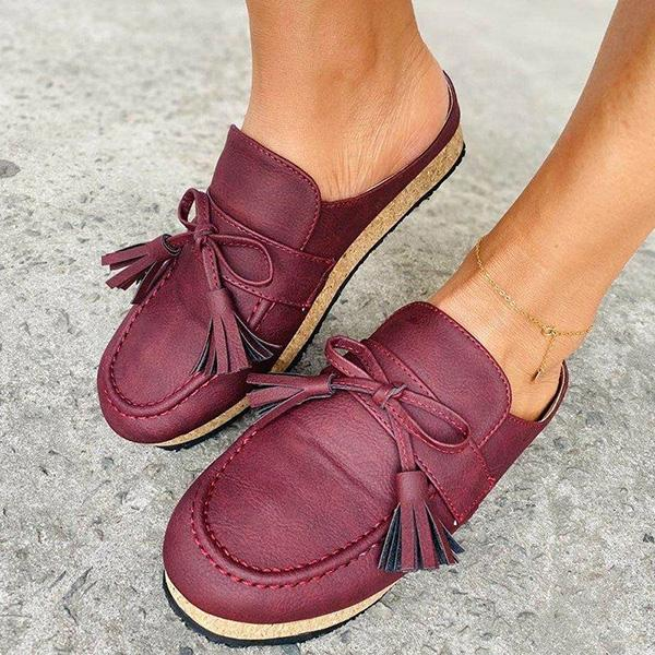 Zoeyootd Women's Tassel Comfy Summer Loafer Sandals