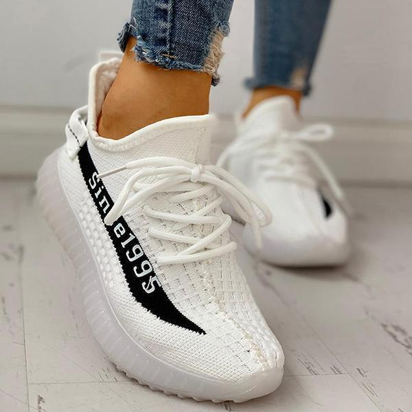 Faddishshoes Colorblock Breathable Lace-Up Casual Sneakers