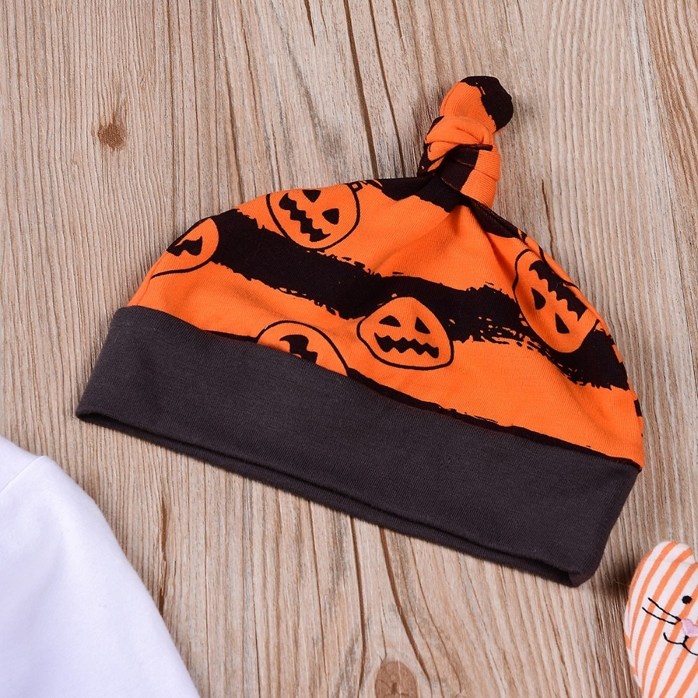 3Pcs Baby Boy Girl Halloween Costume:Baby Boo Print Rompers+Pumpkin Printed Stripe Pants+Hats Outfit Clothes for 0-24 months