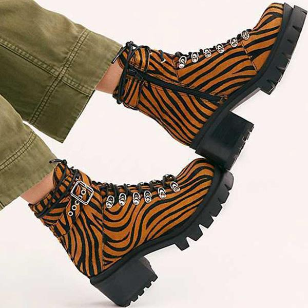 Bonnieshoes Cow Print Lace-Up Tube Buckle  Mid Heel Boots