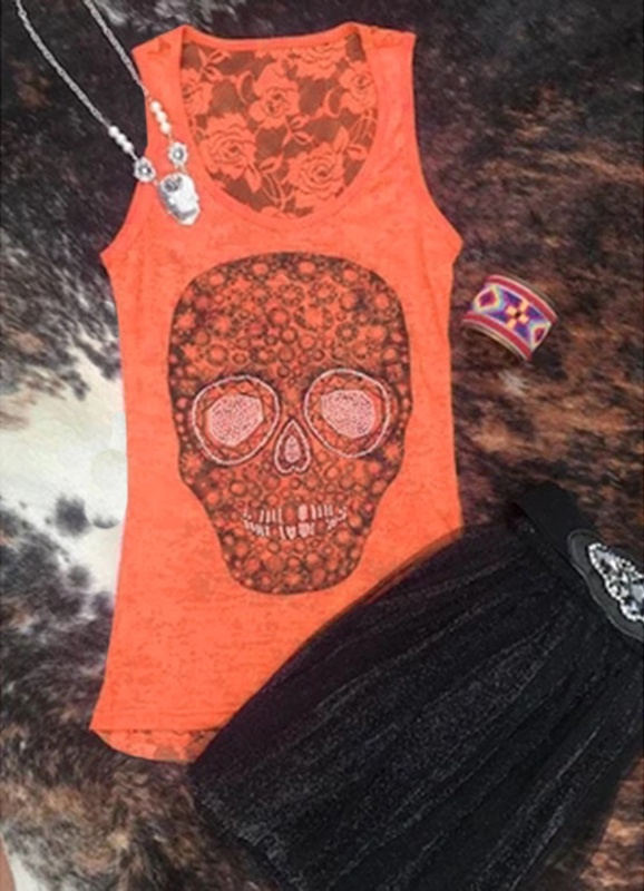 New Arrival Summer Women Fashion Skull Printed Sleeveless Tank Tops Women Sexy Low Neck Summer Shirt Tops