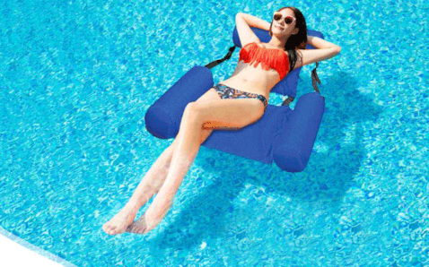 Inflatable hammock swimming pool float lounge with backrest 47 x 40 in