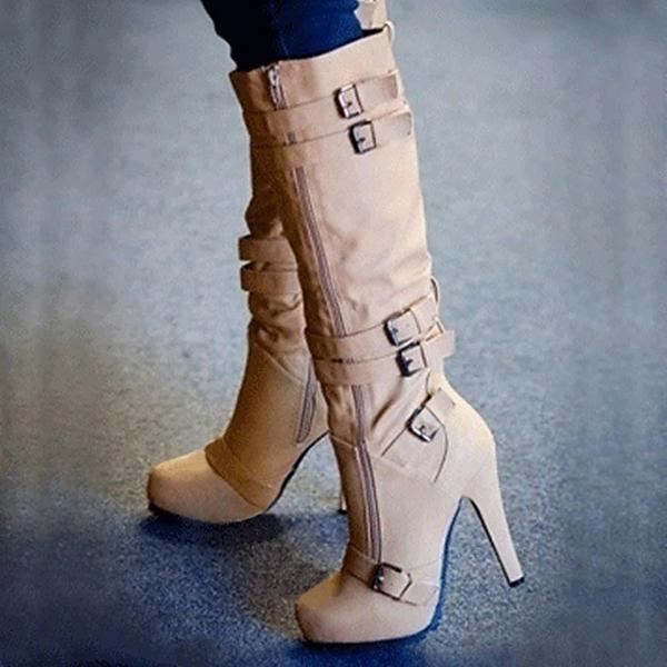 Bonnieshoes Round Toe High Heel Boots