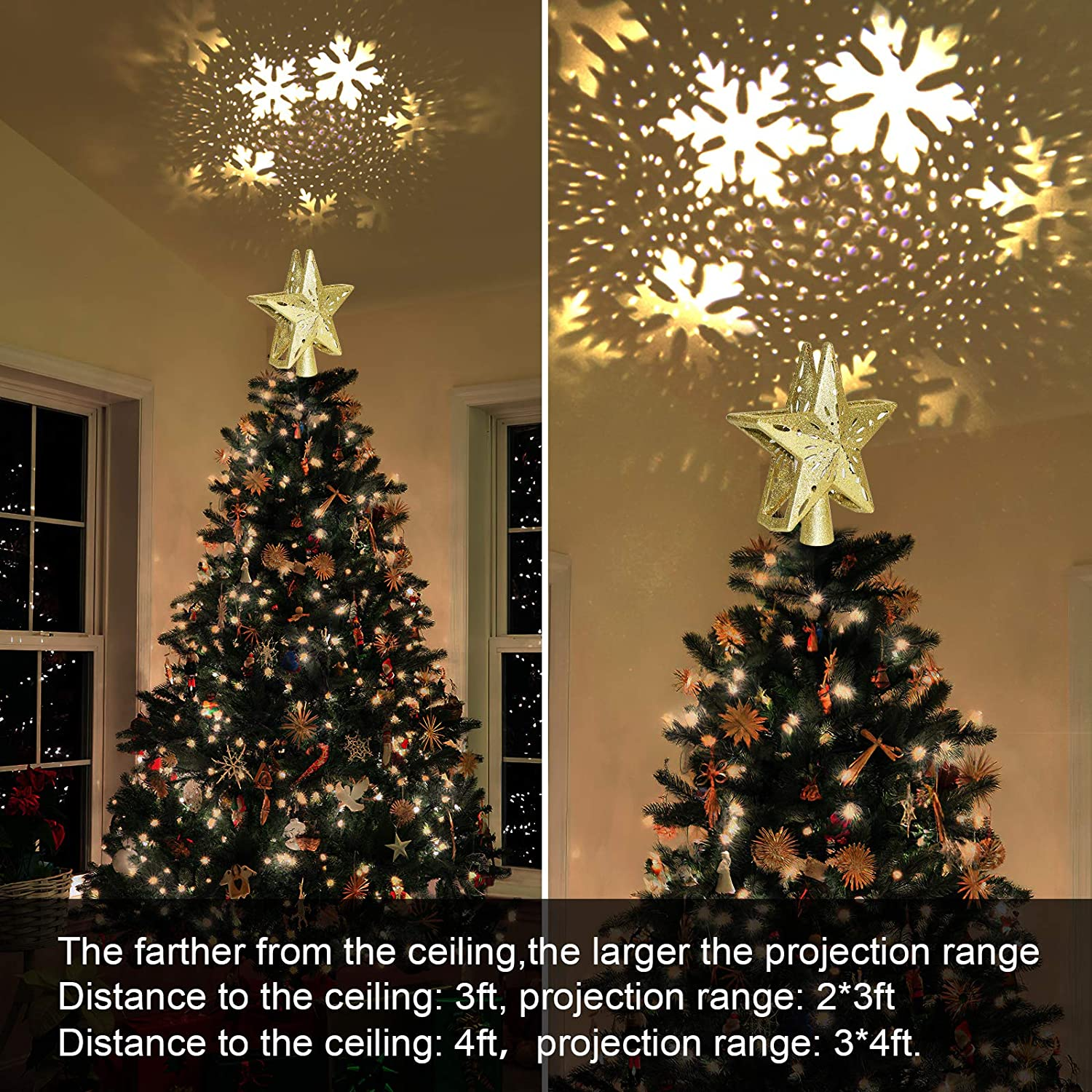 Christmas Tree Toppers with LED Rotating Snowflake Projector Lights