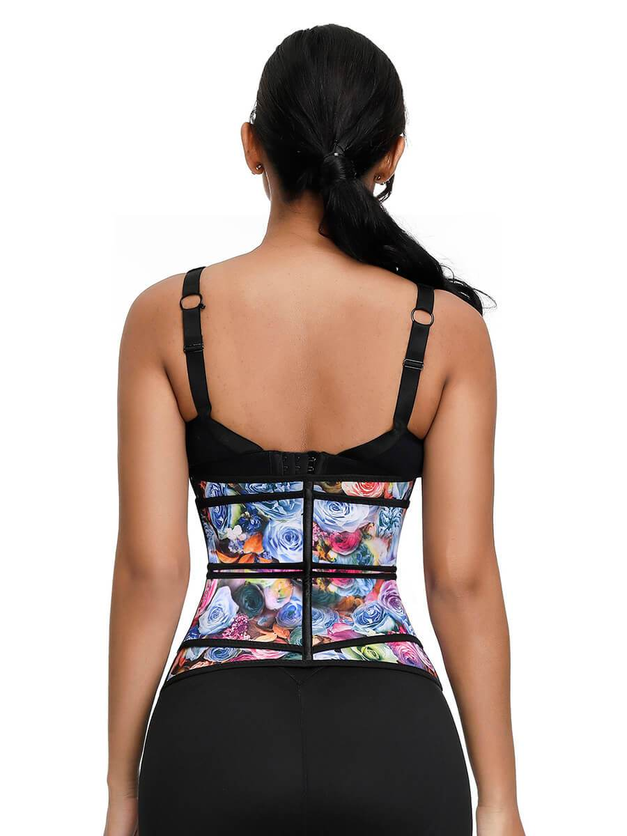 okiwilldo Rose Print Double Belts Waist Cincher