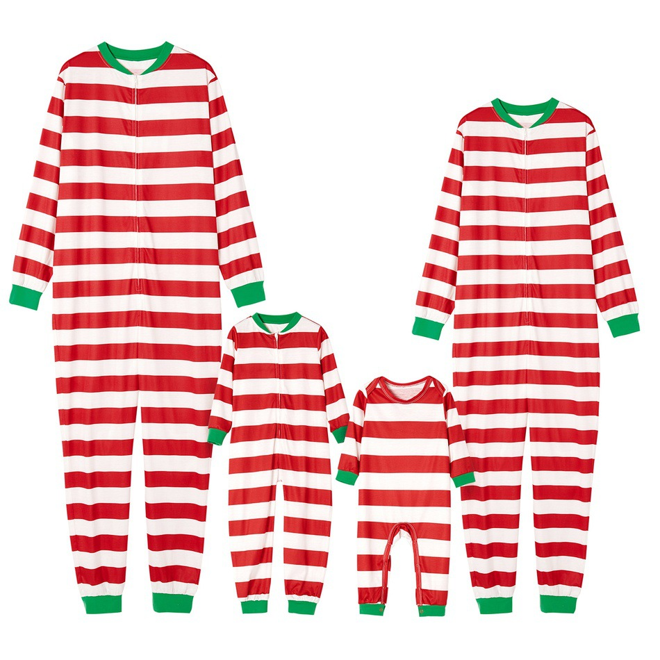 HERIN Red&White Stripes Printed Family Matching Pajamas Sets