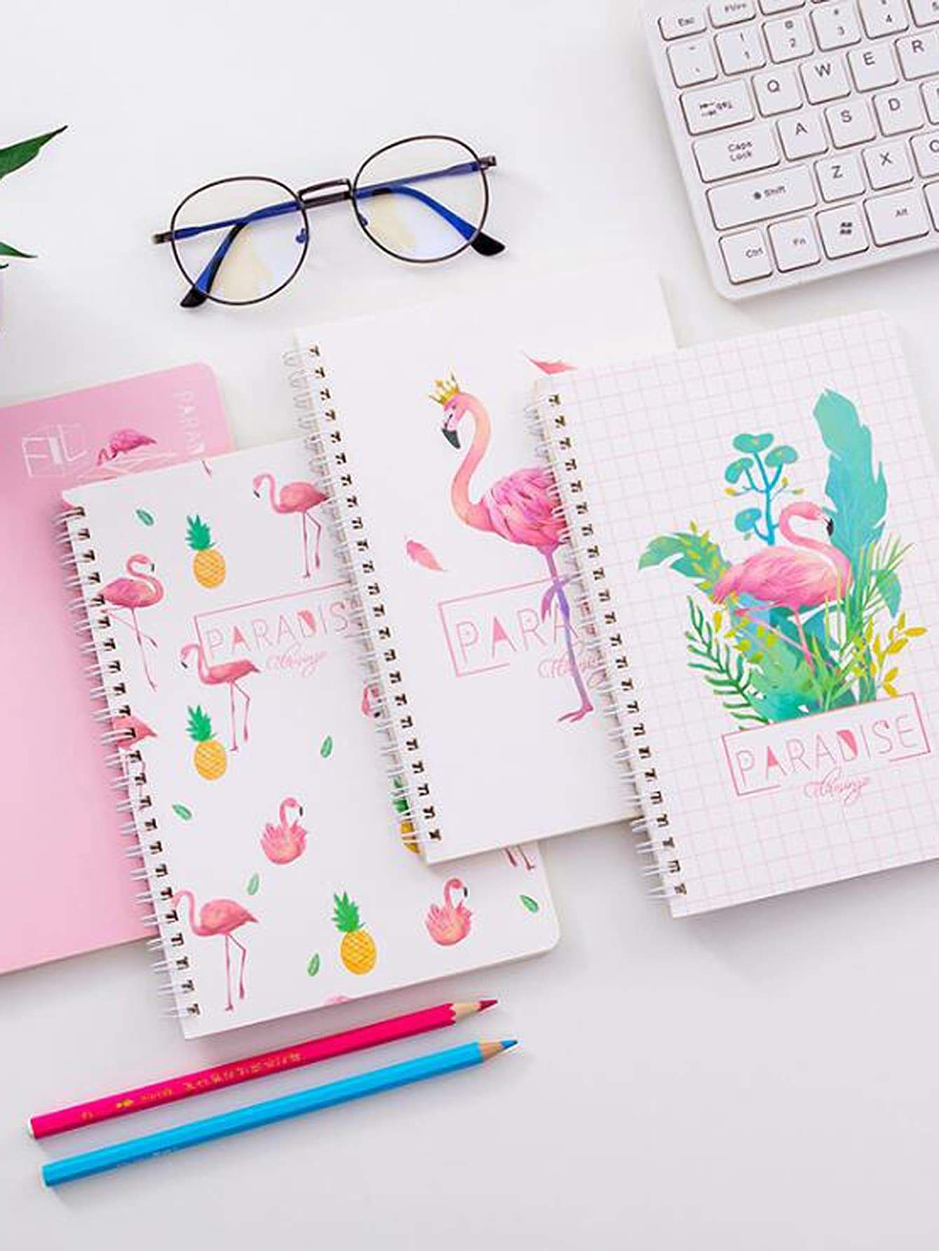 Random Flamingo Cover Spiral Notebook 1pc