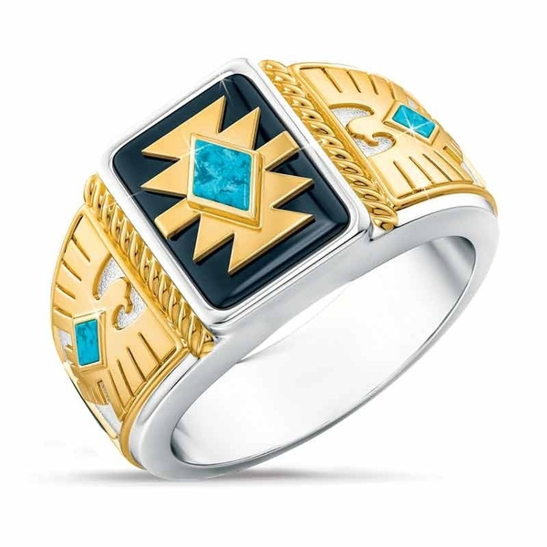 Exquisite European and American Fashion 925 Sterling Silver Emerald stone Mens Rings Two-tone 18K Gold Eagle Punk Jewelry Mens Ring Size 6-13