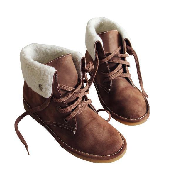 Bonnieshoes Winter Warm Suede Lace Boots