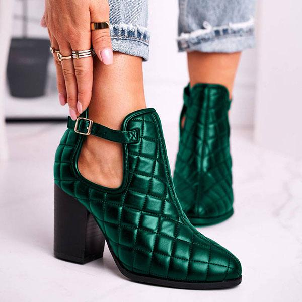 Bonnieshoes Diamond Pattern Buckle Strap High Heel Ankle Boots