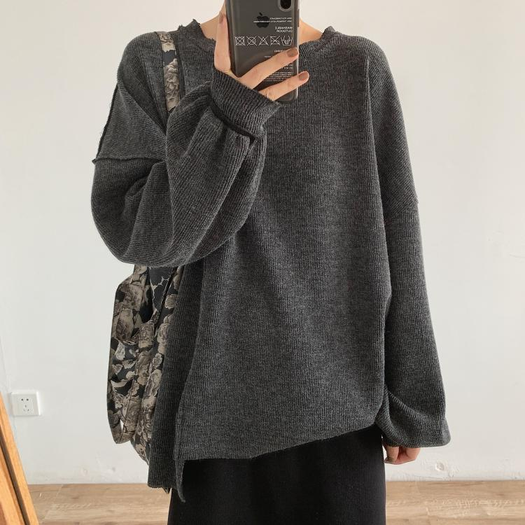 Design sense anti-stitching texture large version sweater autumn casual casual loose round neck closing large sleeves coat